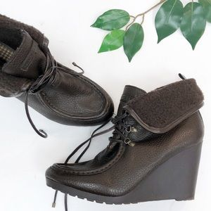 Tommy Hilfiger | Brown leather wedge heel boot